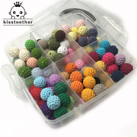 Wooden Teether 108pcs 14mm(0.55inch) Mixed Colour Crochet Beads Blending Creative Freedom For Baby Teether Necklace Decoration