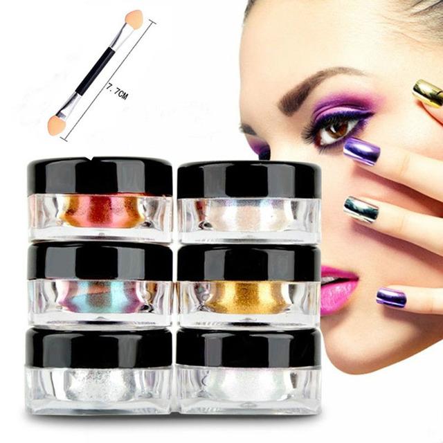 2 g/caja Shinning Espejo de Oro de La Astilla de Uñas Glitter Powder Lentejuelas Del Arte Del Clavo Glitters Polvo de Pigmento de Cromo Espejo