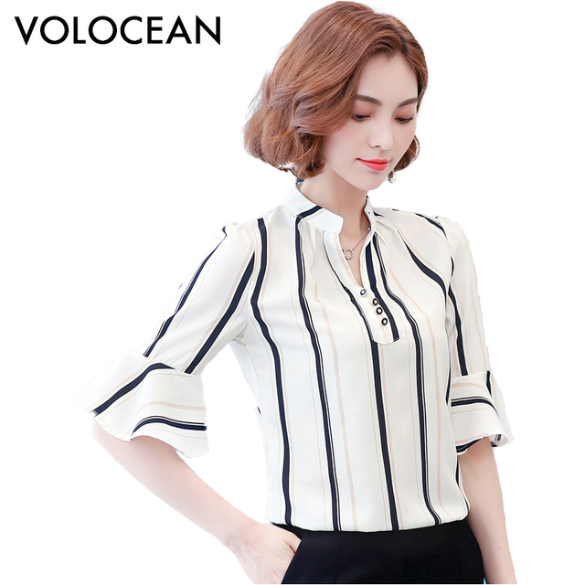 1adb586c Flare volocean nueva tops para mujer de moda de verano de manga blusa camisa  de las