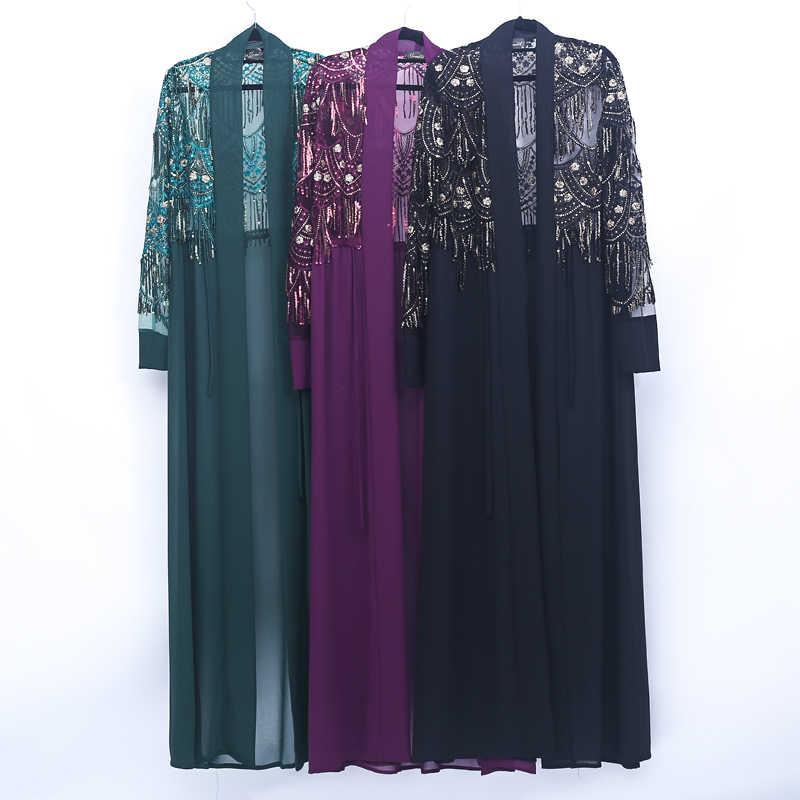Кимоно abaya с блестками и кисточками, турецкий Дубайский Мусульманский платье хиджаб кардиган Абая для женщин, кафтан, мусульманская одежда, халат Femme