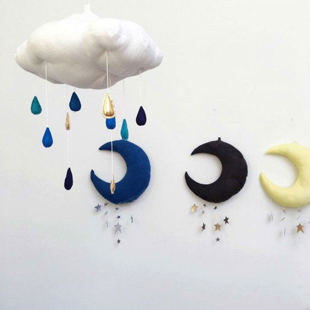 Crib Hanging Ornament Twinkling Baby Bed Pendant Decoration BabyS Cot Moon Kids Room Decor