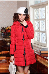 ФОТО 2013 Genuine Slim Long Down Padded Jacket Ladies Stitching Double Breasted Winter Warm Hooded Down Outwear Free Shipping H1149