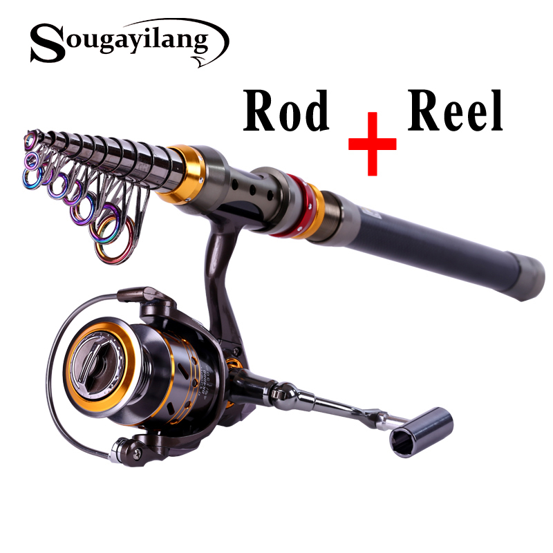 Sougayilang 3.6m Carbon Telescopic Fishing Rod With 13BB 4000series Spinning Fishing Reel Fishing Rod Pole Set Kit Vara De Pesca