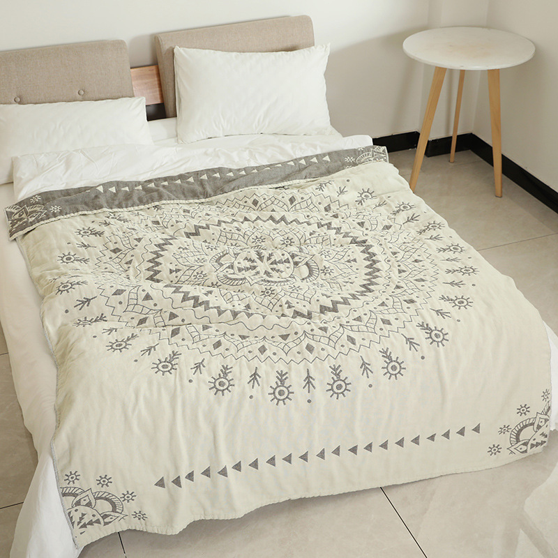 Junwell 100% Cotton Muslin Blanket Bed Sofa Travel Breathable Chic Mandala Large Soft Throw Blanket Para BlanketJunwell 100% Cotton Muslin Blanket Bed Sofa Travel Breathable Chic Mandala Large Soft Throw Blanket Para Blanket