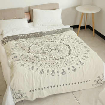 Junwell 100% Cotton Muslin Summer Blanket Bed Sofa Travel Breathable Chic Mandala Large Soft Throw Blanket Para Blanket - Category 🛒 Home & Garden