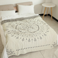 Junwell 100% Cotton Muslin Blanket Bed Sofa Travel Breathable Chic Mandala Large Soft Throw Blanket Para Blanket