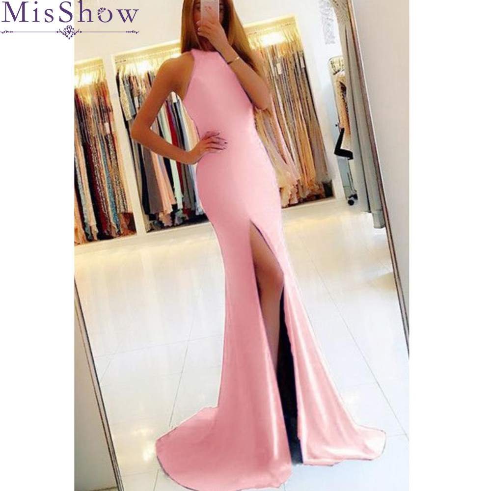 [Custom-made] Women Adult Satin Long Mermaid Sleeveless   Bridesmaid     Dresses   Women Ladies Elegant Sexy Wedding guest   dress   cheap