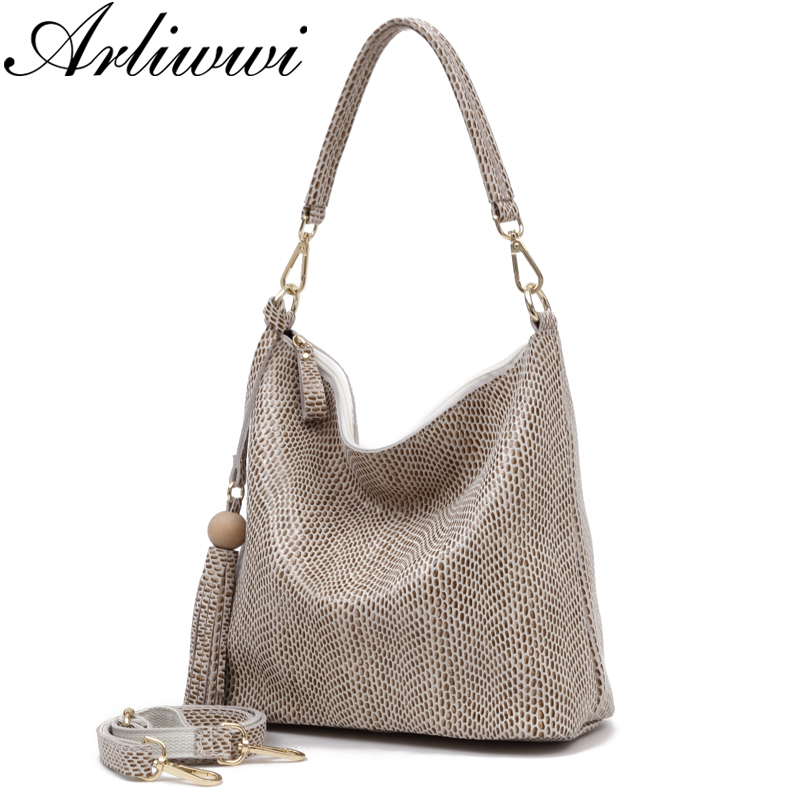 Arliwwi Brand Real Leather Shiny Serpentine Embossed Everyday Shoulder Bags For Women Wood Ball Tassel Female Hobos Handbags