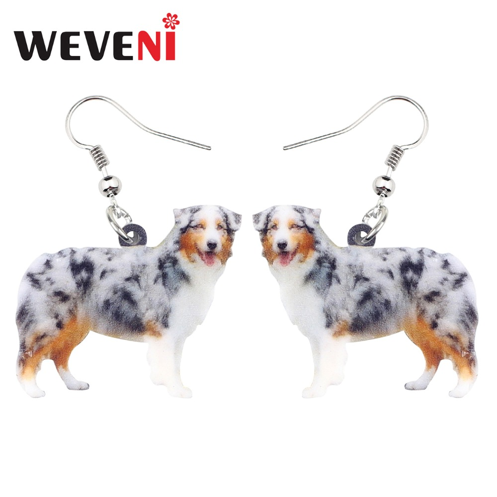 WEVENI Accessory Acrylic Happy Australian Shepherd Dog Earrings Fashion Animal Jewelry For Women Girls Wholesale Cute Charms