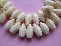 New 10x18mm 40pcs Resin Plastic Acrylic Gergous Barrel Carved Cream White Pendant Bead