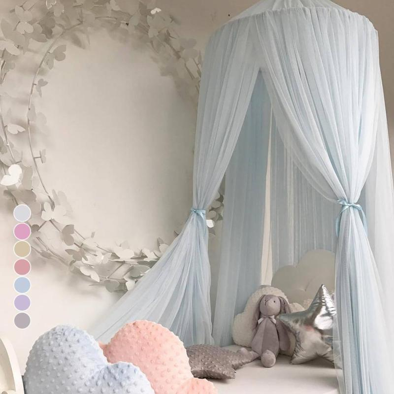 240cm Cute Childrens bed tent Baby Bed Curtain Round Crib Tent Hung Dome Mosquito Net Photography Props R3