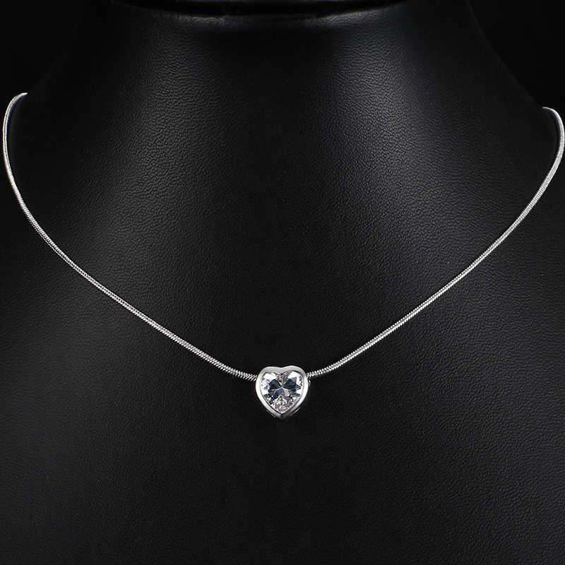 Collier pendentif coeur en cristal Simple femmes AAA Zircon collier ras du cou de mariage pour meilleur ami collier bijoux AN135