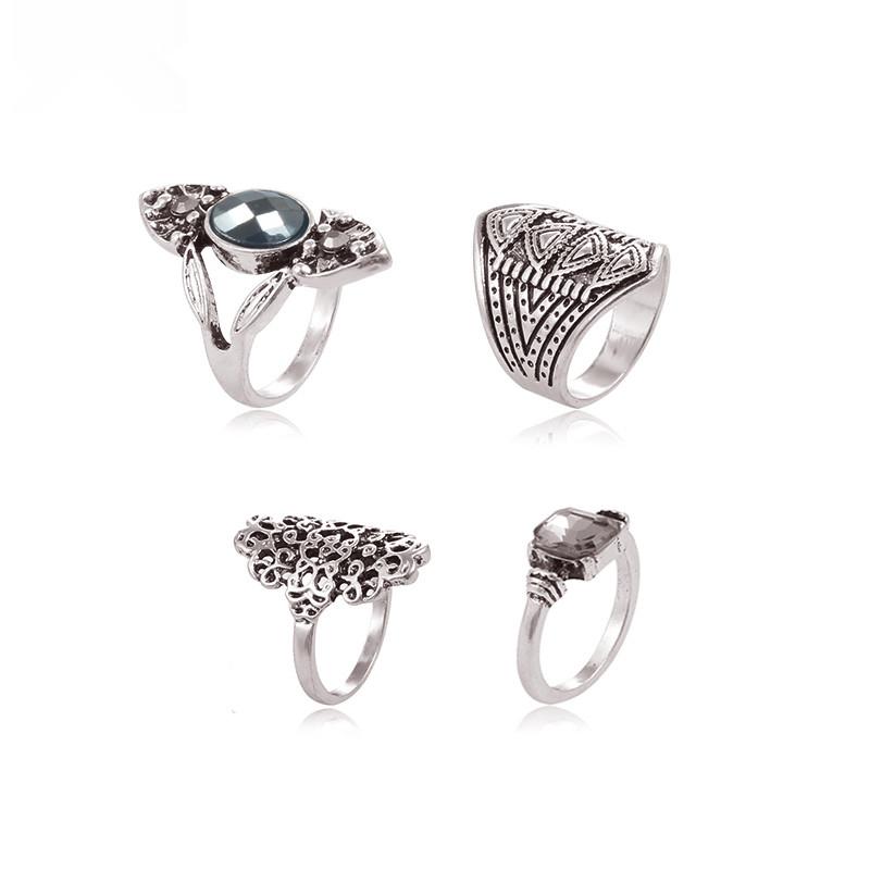 4PCS Bohemian Vintage Flower Rings Set Women Ethnic Antique Silver Plated Hollow Out Rings Carved Stone Women Fashion Jewelry