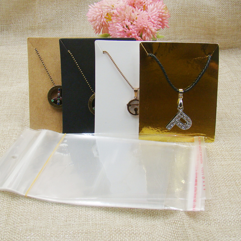 ZerongE Jewelry 7*9cm White/kraft/black/gold Color Paper Necklace Package Card 100pcs +100 Pcs Opp Bag For Jewelry Display