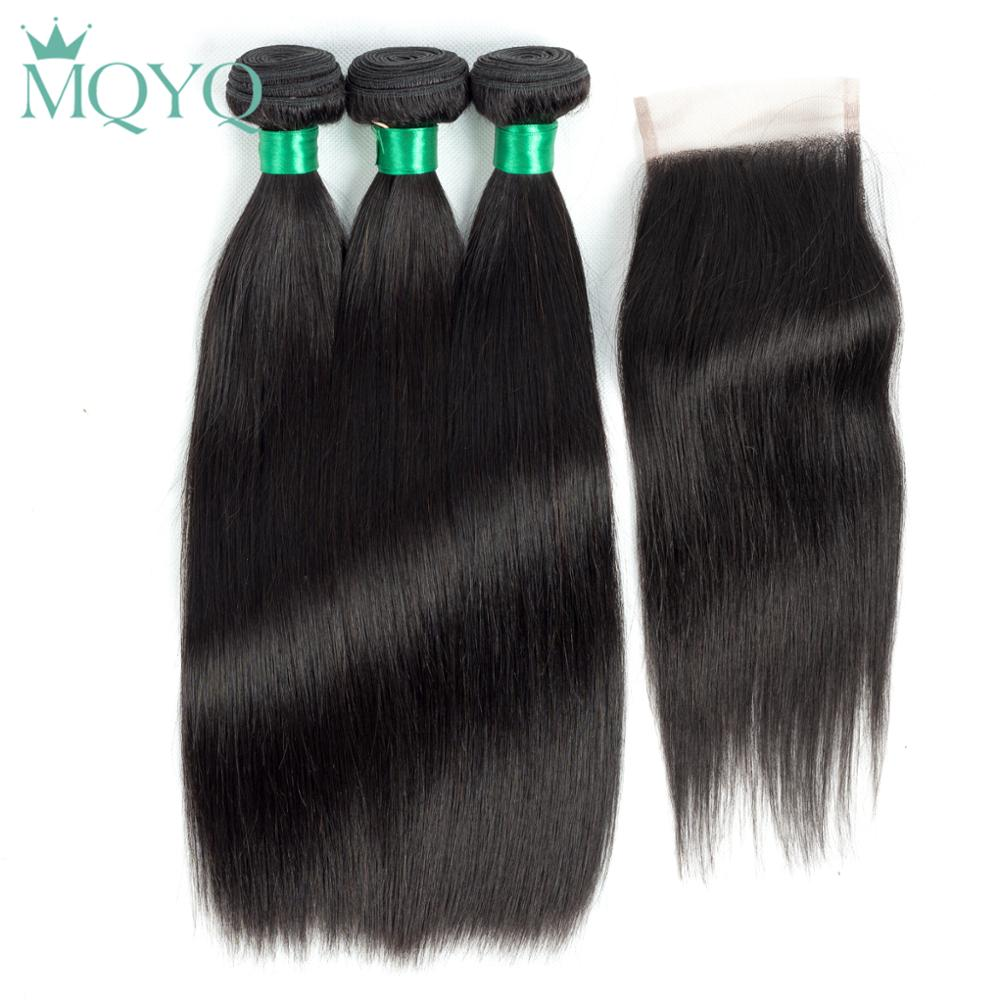 MQYQ Straight Indian Human Hair 3 Bundles With 4*4 Lace Closure Free Three Middle Part Natural Color Non-Remy Hair Free Shipping