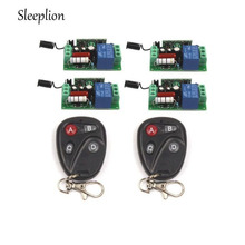 Sleeplion AC 220V 10A 1CH Relay 2 4-key wireless Tech Remote Switch Transmitter+4 Receiver 315MHz 433MHz