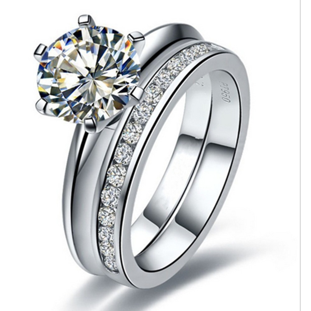 Genuine Silver Jewelry 3ct Engagement Ring Solitaire Prongs Wedding Band  Semi Mount Nscd Synthetic Diamonds Rings