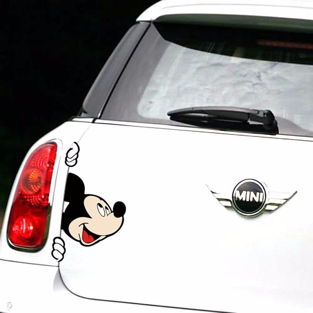 Viva car sticker design - 10 X Lovely Mickey Peering Car Body Stickers Car Decal For Toyota Chevrolet Volkswagen Tesla Honda