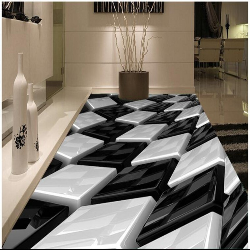 beibehang stereo black and white three-dimensional box creative floor pvc thick wear-resistant ultra-green flooring tiles face recognition using three dimensional and multimodal images