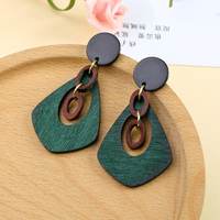 4a5bf67c2182 New Fashion Jewelry Ethnic Geometric Circle Wood Earrings For Women Charm  Alloy Round Earring Wholesale Accessories