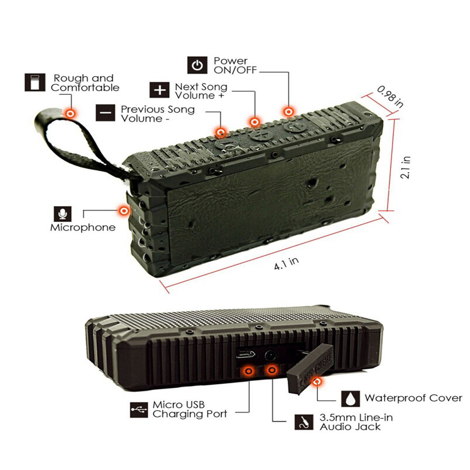 Indoor Outdoor Portable Bluetooth Speaker HiFi Stereo Loundspeaker Handsfree Speakerphone Mic  Mini Dynamics Waterproof  IP67