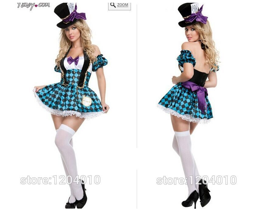 0ebac7a0be free shipping Womens Sexy Mad Hatter Tea Party Alice In Wonderland Fancy  Dress Costume