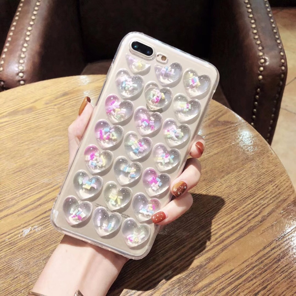 new cute love heart shape candy granule Glue injection cover for iphone 6 6s plus 7 7P 8 8P X soft mobile phone Case capa