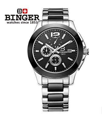 Top Luxury Men Automatic Mechanical Watch Brand Original Binger Watches Self Wind Sapphire Ceramic Wristwatch 24 Hours Display original binger mans automatic mechanical wrist watch date display watch self wind steel with gold wheel watches new luxury