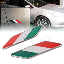 MAYITR 2Pcs 3D Aluminium Alloy Italy Italian Flag Emblem Car Side Fender Badge Sticker Decal Styling Exterior Accessories