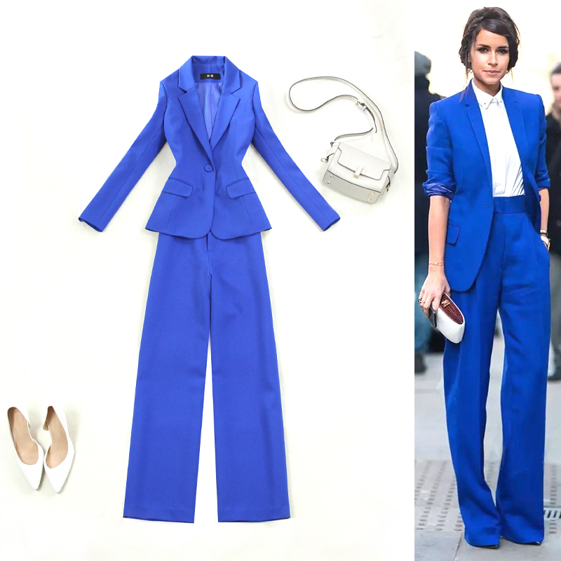 Set female 2019 spring and summer new blue Slim suit wide leg pants two sets of temperament solid color wild women's clothes