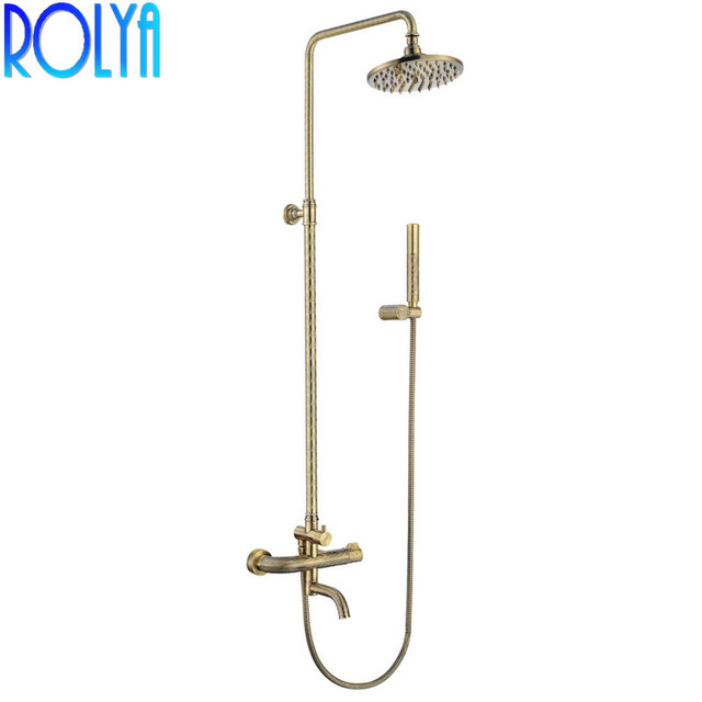 ROLYA Wholesale Classic Style Luxury Solid Brass Hand Carved Antique Bronze Bathroom Shower Set