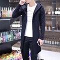 Outono inverno sólida Fino Blusão Jaqueta Casaco de trincheira casaco masculino de médio-longo cardigan com capuz outerwear plus size 5XL