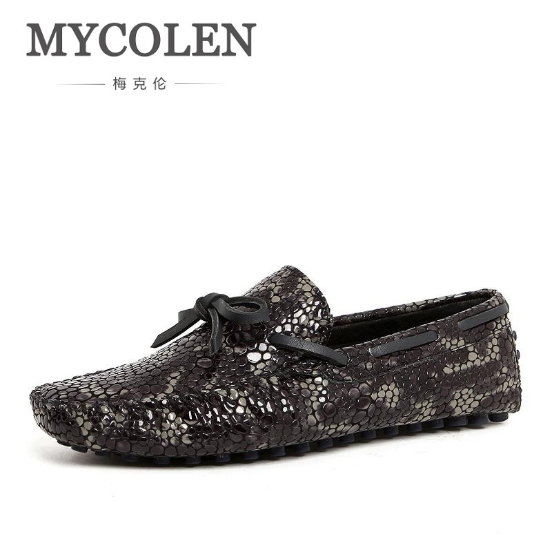 MYCOLEN New Fashion Brand Designer Men Shoes Stone Pattern Handmade Leather Loafers Italian Mens Dress Shoes Mocassin Homme mycolen men loafers leather genuine luxury designer slip on mens shoes black italian brand dress loafers moccasins mens