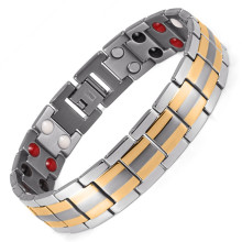 Fashion Jewelry Healing FIR Magnetic Titanium Bio Energy Bracelet For Men Blood Pressure Accessory Silver Bracelets