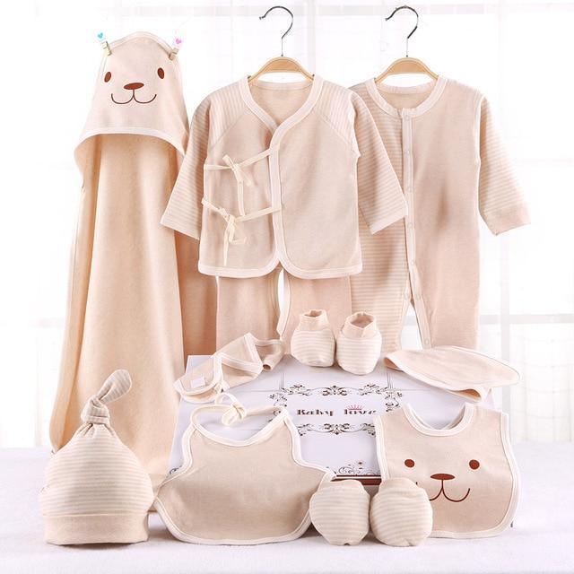 Belva 100% organic cotton 10pcs newborn baby winter clothes set (jumpsuit+top+pants+cap+gloves+foot cover+2bibs+hat+blanket)524
