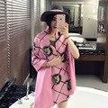 2016 мода люксовый бренд кашемир шарф Женщины дизайнер плед шарфы тигр отпечатано Пашмины платок écharpe cachecol пончо