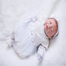 20 inch 50 cm Silicone baby reborn dolls, lifelike doll reborn Beautiful white dress sleeping doll