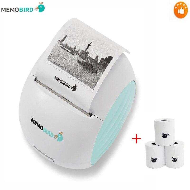 Nova impressora memobird g2 wifi impressora portátil código de barras foto sem fio impressora térmica micro conector + 3 rolo papel