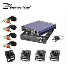 DIY 4 канала D1 мобильный комплект DVR, EASYSTORAGE, 4 камеры и кабели, DIY установки, используемый для шины, такси, грузовик, от Brandoo