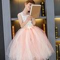 Niñas DanceTutu Dress Pink Flower Baby Girls Vestidos Para La Fiesta de Boda de La Princesa vestido de Bola Vestidos De Adolescentes