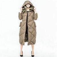 2018 женские пальто парки Плюс Размер капюшон Повседневный Реверсивный женский длинный дизайн 90% белый гусь
