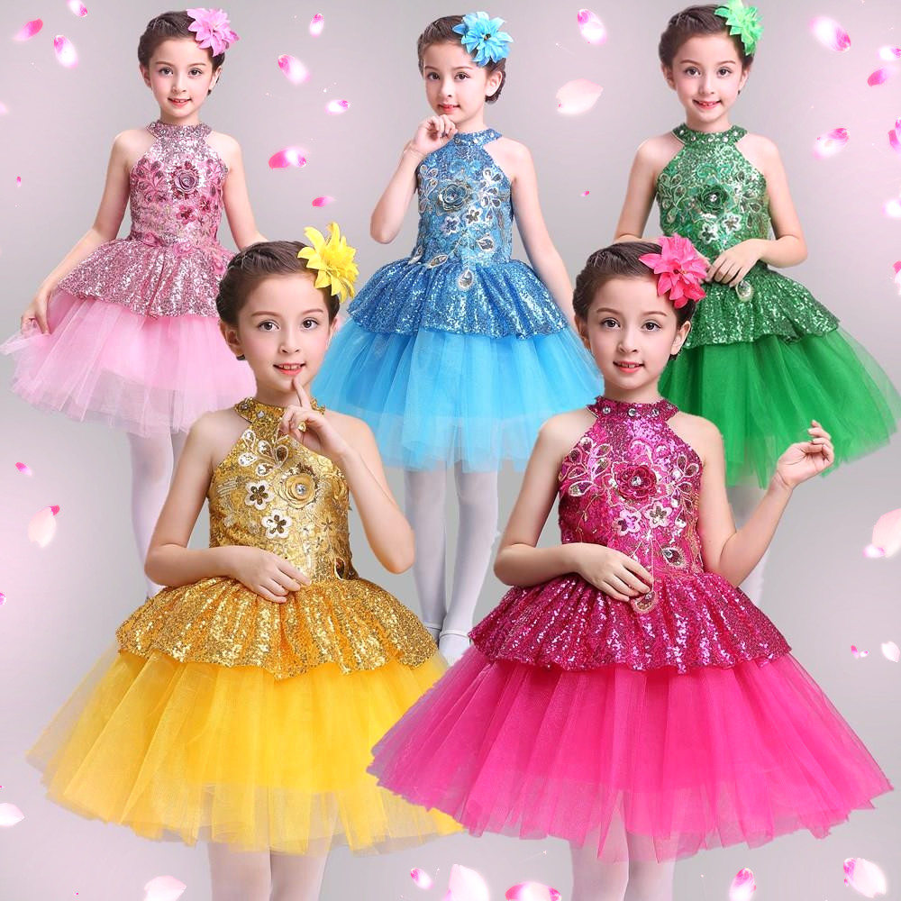 Leuke meisjes glanzende uitvoering Balletjurk Kinderen mouwloze tutu - Nieuwe items