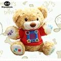 Bebê Urso de Pelúcia Elétrica Bilíngüe de Aprendizagem de Máquina Brinquedo Divertido Garoto Brinquedos educativos Para As Crianças Cantar e Aprender Com o Teddy urso