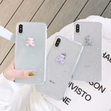 INS Glitter Bling Case For iPhone 8 7 6 s Plus Epoxy Star Moon Bear X XR XS MAX Soft Clear Silicone TPU Cover