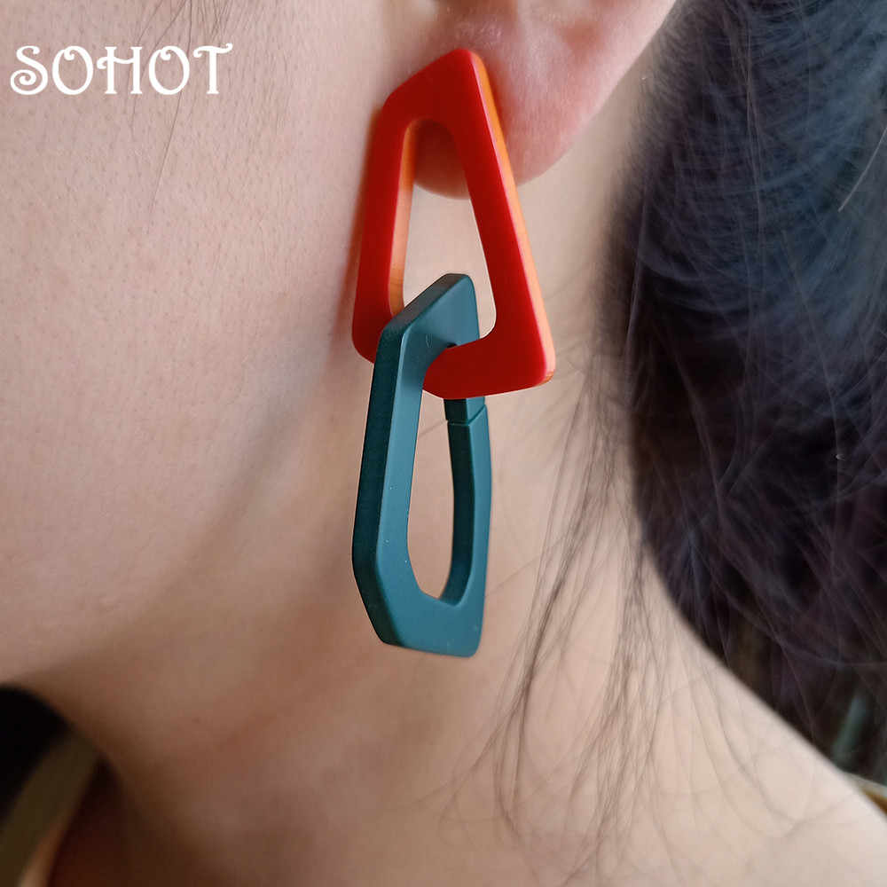 SOHOT Minimalist Style Irregular Acrylic Drop Earrings Coloful Exaggerated Abstract Jewelry Bijoux For Gypsy Women Wedding Gift