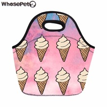 WHOSEPET Kids Lunch Bag Tumblr Ice Cream Print Food Bag for Women Casual Thermal Sacola Insulated Meals Bolsa Portable Snack Bag