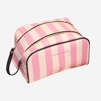 Girl PU Leather Stripe Cosmetic Bag For Make Up Travel Cosmetic Bag Women Waterproof Makeup Bags For Women Zipper Cosmetiqueras Косметика