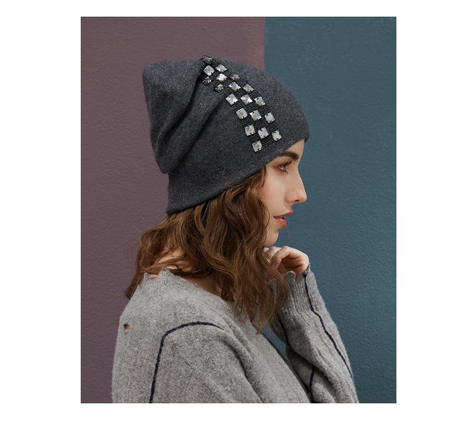 Women's Winter Beanies 2018 Stretchy Knitted Hat Flashing Glass Rhinestone Hat Female Cashmere Bonnets Elegant Warm Beanie Gorro (17)