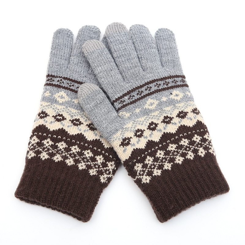 Winter Men/Women Warm Jacquard Stretch Knit Gloves Female Print Magic Accessories Wool Full Finger Gloves Thicken Mittens B43