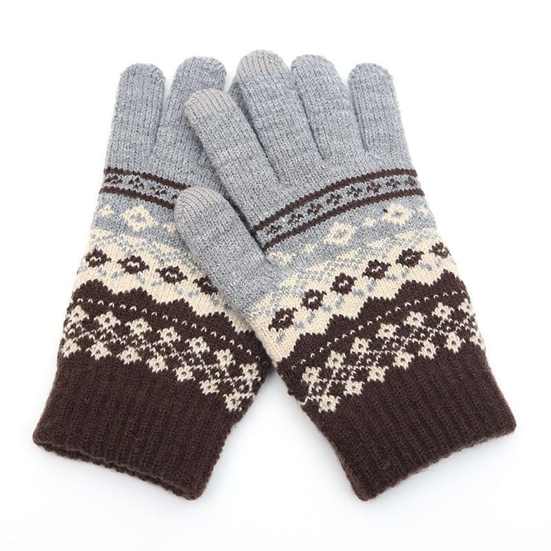 Winter Men/Women Warm Jacquard Stretch Knit Gloves Female Print Magic Accessories Wool Full Finger Gloves Thicken Mittens B43
